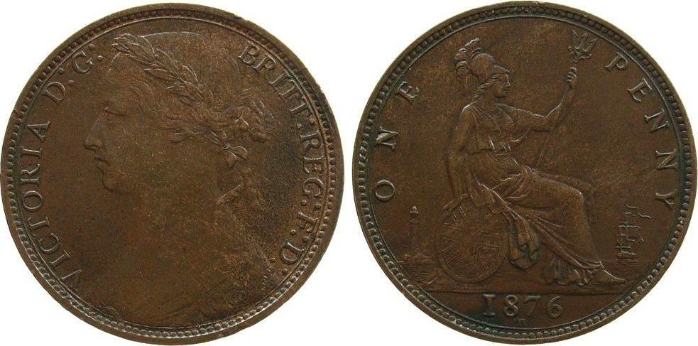 Penny 1876 Großbritannien Br Victoria, H, kleine Randfehler EF