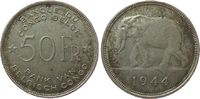 50 Francs 1944 Belgisch Kongo Ag Elefant, kleine Randfehler ss  56,50 EUR  +  8,00 EUR shipping