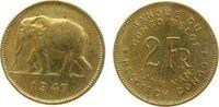 2 Francs 1947 Belgisch Kongo Me Elefant, etwas fleckig, Schön 27 ss-vz  11,50 EUR  +  8,00 EUR shipping
