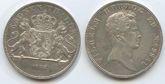1 Kronentaler 1836 Nassau M#5026 - SEHR RAR Wilhelm 1816-1839 Sehr schön - Vorzüglich