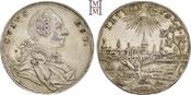 Guldenförmiger Silberjeton o. J. (u um 1780 Brandenburg-Ansbach Alexander 1757-1791. Feine Tönung, attraktive Stadtansicht, vorzüglich