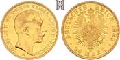 20 Mark 1889  A Preußen Wilhelm II. 1888-1918. Gutes sehr schön