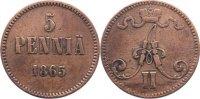 Cu 5 Penniä 1 1865 Finnland Alexander II. von Rußland 1855-1881. fast s... 35,00 EUR  +  4,50 EUR shipping