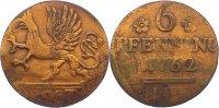 Cu 6 Pfennig 1762 Mecklenburg-Rostock, Stadt  zaponiert, kl. Kratzer, f... 25,00 EUR  +  4,50 EUR shipping