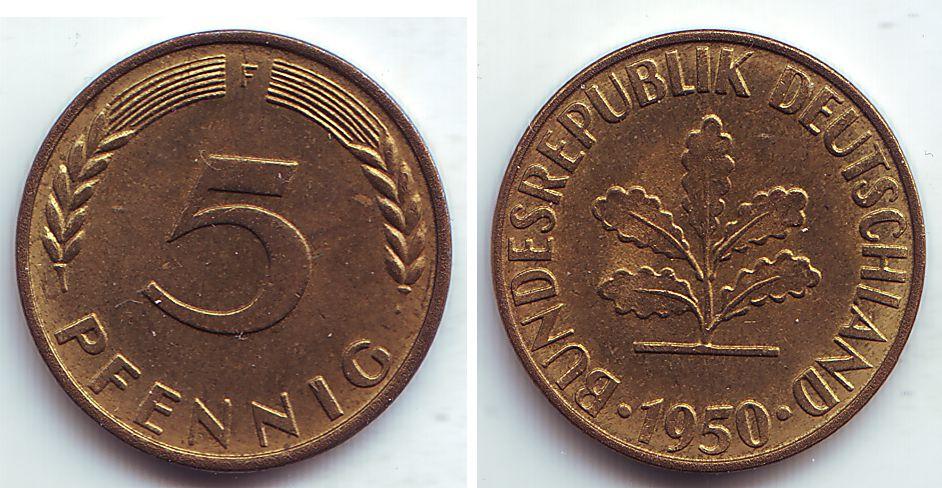 1950 5 pfennig coin