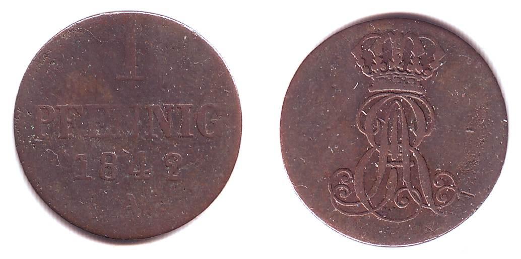 1 Pfennig 1842 A Hannover Ernst August von Hannover (1837 - 1851) VF