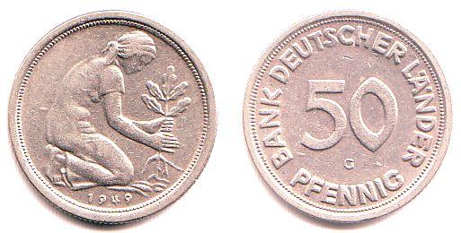 münzwert 50 pfennig 1949 g
