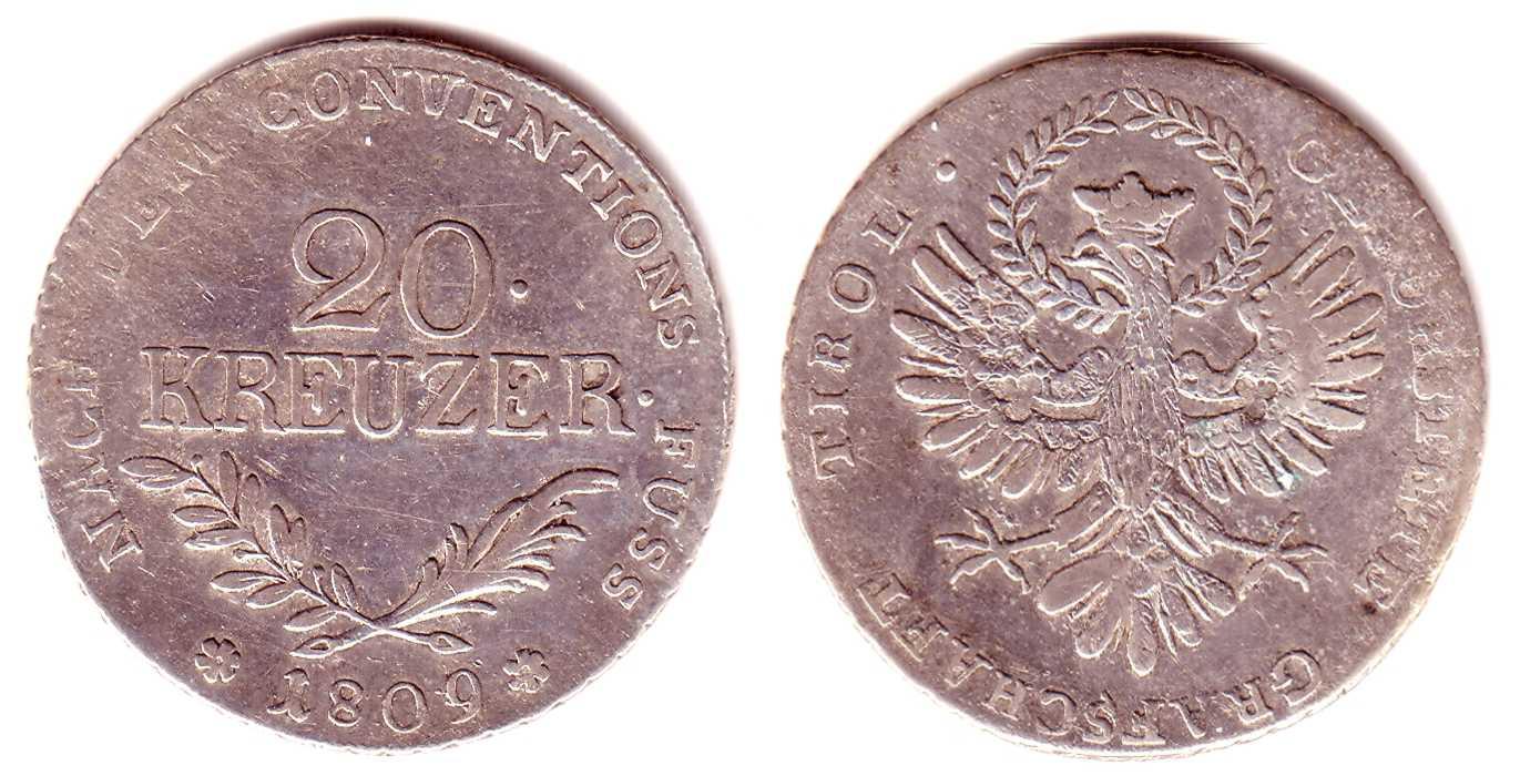 20 Kreuzer 1809 Österreich/Tirol Tiroler Präge Andreas Hofer für Tirol VF-