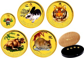 5x 5 Dollars 2008-12 Australien Lunar-Seri...