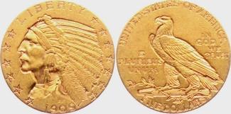 5 Dollar 1909 USA Indian Head vz