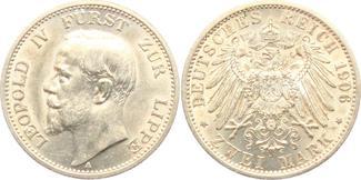 2 Mark 1906 A Lippe Leopold IV. (1904-1918) f.st