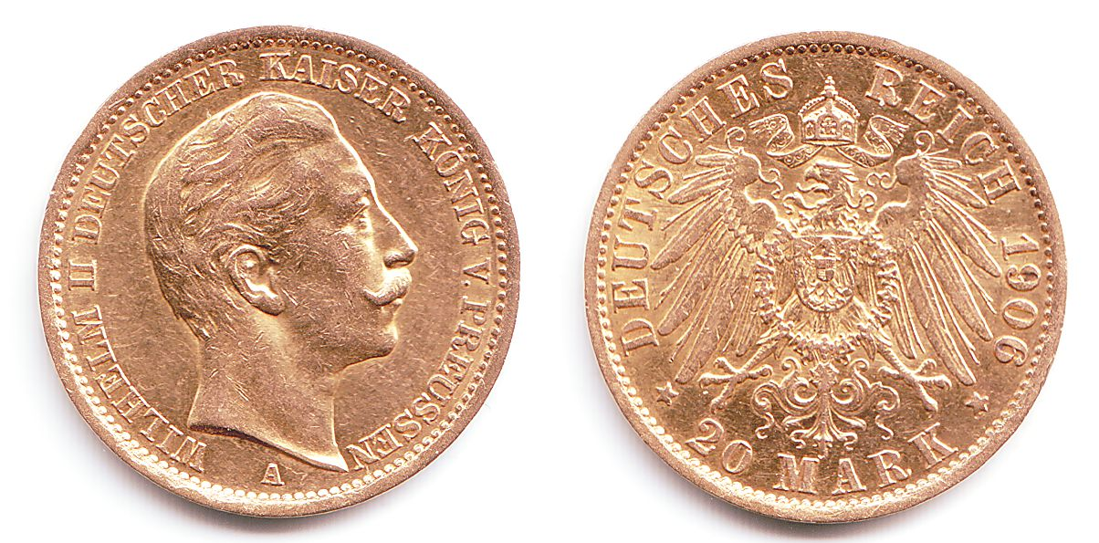 Preussen Goldmnze - Kaiser Wilhelm II. 20 Mark 1906 A vz 
