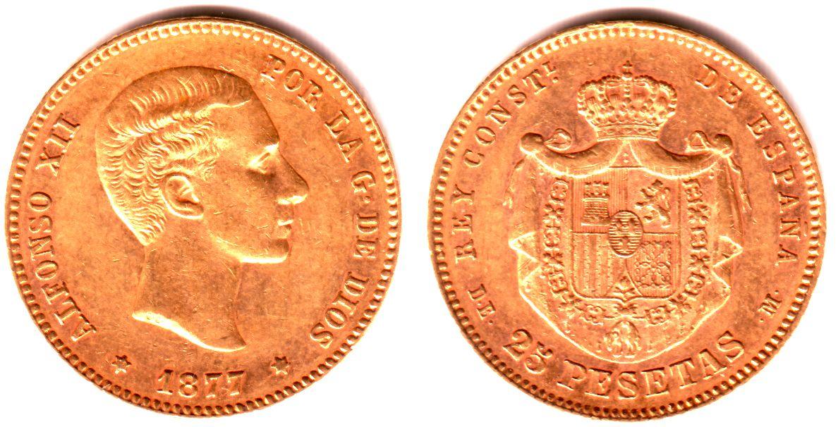 25 Pesetas 1877 Spanien Goldmünze - König Alfonso XII. EF