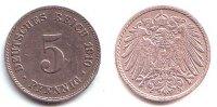 5 Pfennig 1910 J Kaiserreich Kursmünze, großer Adler f.vz  59,90 EUR  excl. 6,95 EUR verzending