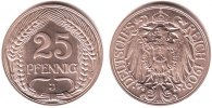 Kaiserreich 25 Pfennig 1909 J PP Kursmnze