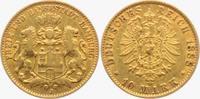 10 Mark 1888 J Hamburg Stadtwappen - mit kleinem Adler ss  349,00 EUR  Excl. 9,95 EUR Verzending
