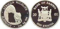 5000 Kwacha 2001 Sambia Elefant mit Jungtier - Tiere PP  149,00 EUR
