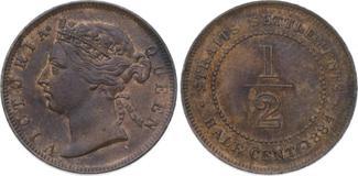 1/2 Cent 1884 Malaysia-Straits Settlements...