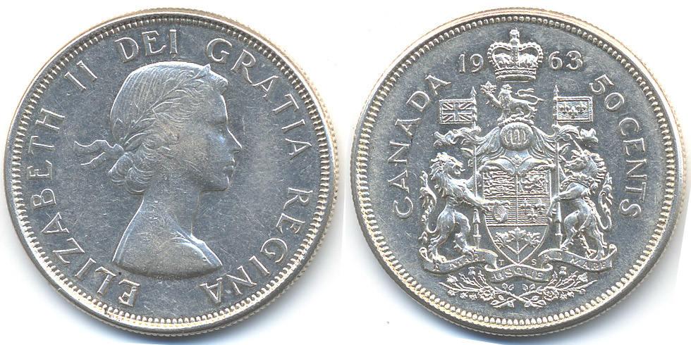 50 Cents 1963 Kanada - Canada Elisabeth II. ab 1952 – Silber 9,33 fein aEF