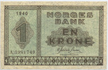 Norwegen - Norway 1 Krone 1940 2+  50,00 EUR