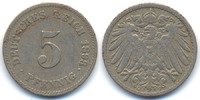 5 Pfennig 1893 G Kaiserreich großer Adler - Kupfer/Nickel sehr schön  22,00 EUR  +  4,80 EUR shipping