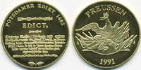 vergoldete Kupfer/Nickel Medaille 1991 BRD Potsdamer Edict 1685 prägefr... 7,00 EUR  +  1,80 EUR shipping