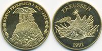 vergoldete Kupfer/Nickel Medaille 1991 BRD König Friedrich I. prägefris... 7,00 EUR  +  1,80 EUR shipping