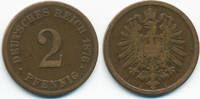 2 Pfennig 1876 A Kaiserreich kleiner Adler - Kupfer schön+  0,80 EUR  +  1,80 EUR shipping