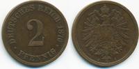 2 Pfennig 1876 A Kaiserreich kleiner Adler - Kupfer knapp sehr schön  1,40 EUR  +  1,80 EUR shipping