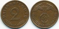 2 Reichspfennig 1939 A Drittes Reich Kupfer fast vorzüglich  1,50 EUR  +  1,80 EUR shipping