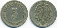 5 Pfennig 1876 F Kaiserreich kleiner Adler - Kupfer/Nickel schön/sehr s... 2,50 EUR  +  1,80 EUR shipping