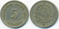 5 Pfennig 1876 J Kaiserreich kleiner Adler - Kupfer/Nickel fast sehr sc... 2,00 EUR  +  1,80 EUR shipping