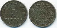 5 Pfennig 1917 A Ersatzmünze 1.WK Eisen sehr schön+ - minimal fleckig  1,00 EUR  +  1,80 EUR shipping