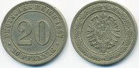 20 Pfennig 1887 A Kaiserreich kleiner Adler - Kupfer/Nickel gutes sehr ... 16,00 EUR  +  1,80 EUR shipping
