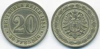 20 Pfennig 1888 F Kaiserreich kleiner Adler - Kupfer/Nickel fast sehr s... 18,00 EUR  +  1,80 EUR shipping