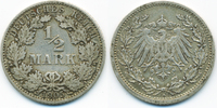 1/2 Mark 1905 A Kaiserreich Silber fast sehr schön  2,20 EUR  +  1,80 EUR shipping