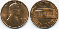 1 Cent 1969 S USA Lincoln Cent Memorial prägefrisch+  0,60 EUR  +  1,80 EUR shipping