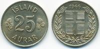25 Aurar 1966 Island - Iceland Republik vorzüglich+  1,50 EUR  +  1,80 EUR shipping