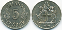 5 Kronur 1969 Island - Iceland Republik vorzüglich  2,50 EUR  +  1,80 EUR shipping