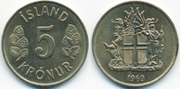 5 Kronur 1969 Island - Iceland Republik prägefrisch  3,00 EUR  +  1,80 EUR shipping