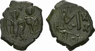Æ-3/4 Follis 3.Offizin Jahr 20 (62 BYZANZ Heraclius, 610-641 und Heraclius Constantinus. Malachit Patina. - Fast vorzüglich -vorz
