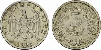 3 Reichsmark 1931 E. WEIMARER REPUBLIK  Vo...