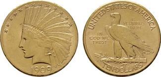 10 Dollar 1909, San Francisco. USA  Vorzüg...