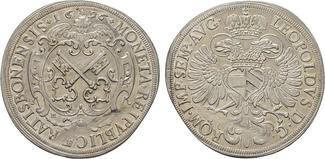Reichstaler 1696. REGENSBURG  Felder etwas poliert, Stempelfehler im Feld. Vorzüglich.