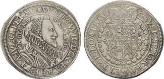 Reichstaler 1623, Kallmütz. PFALZ Wolfgang Wilhelm, 1614-1653. Übliche unbedeutende Stempelfehler. Fast Vorzüglich  /  Vorzüglich.