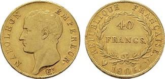 40 Francs 1806, U-Turin. ITALIEN Napoleon,...