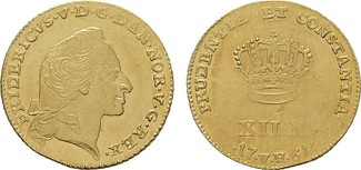 12 Mark 1761, H- Kopenhagen. DÄNEMARK Fred...
