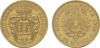 10 Mark 1874. Hamburg Freie und Hansestadt...