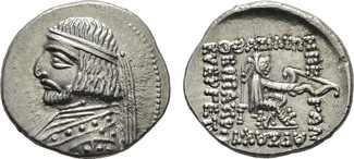 AR-Drachme, Rhagai. PARTHIA Arsakes XVI., ...