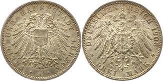 3 Mark 1908 Lübeck  Vorzüglich +